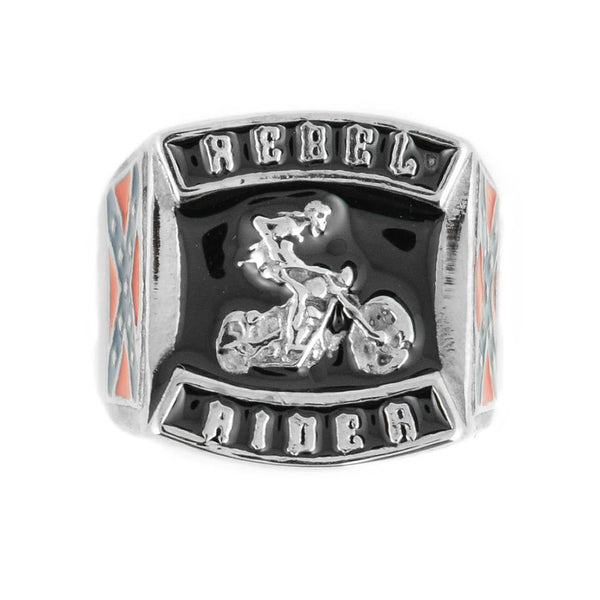 SK1787  Gents Rebel Rider Skeleton On Motorcycle Ring Stainless Steel Motorcycle Jewelry  Size 9-15