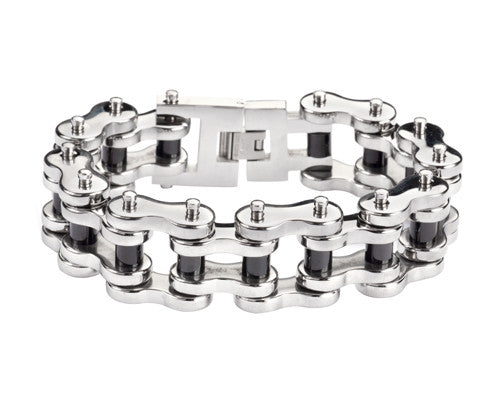 "SK1179 1"" Wide Stainless Black Rollers THICK LINK Men's Stainless Steel Motorcycle Chain Bracelet"