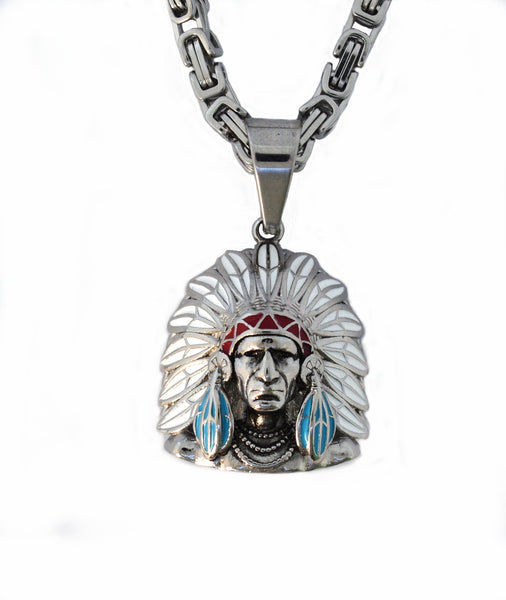 "SK1737 Pendant With 5mm  26"" Chain Stainless Steel Indian Bust Red Green Black Red White Blue"