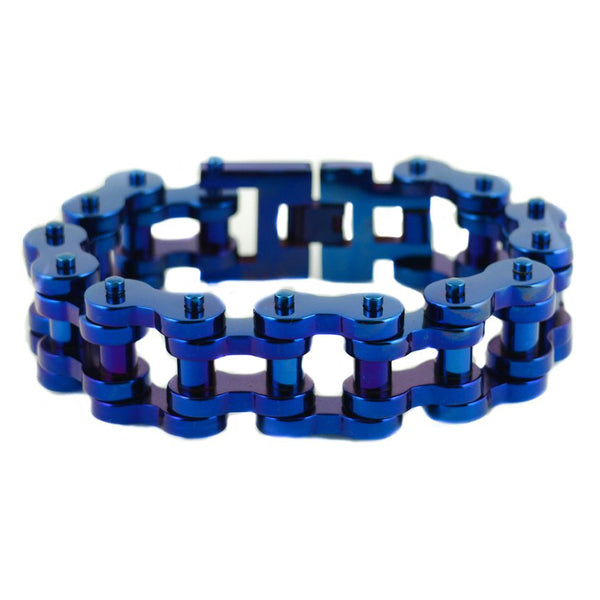 "SK1818 All Blue 1"" Wide Unisex Stainless Steel Motorcycle Chain Bracelet"