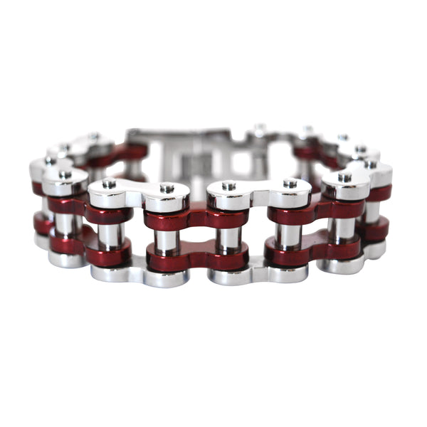 "SK1799 Silver Tone/ Candy Red 1"" Wide Unisex Stainless Steel Motorcycle Chain Bracelet"