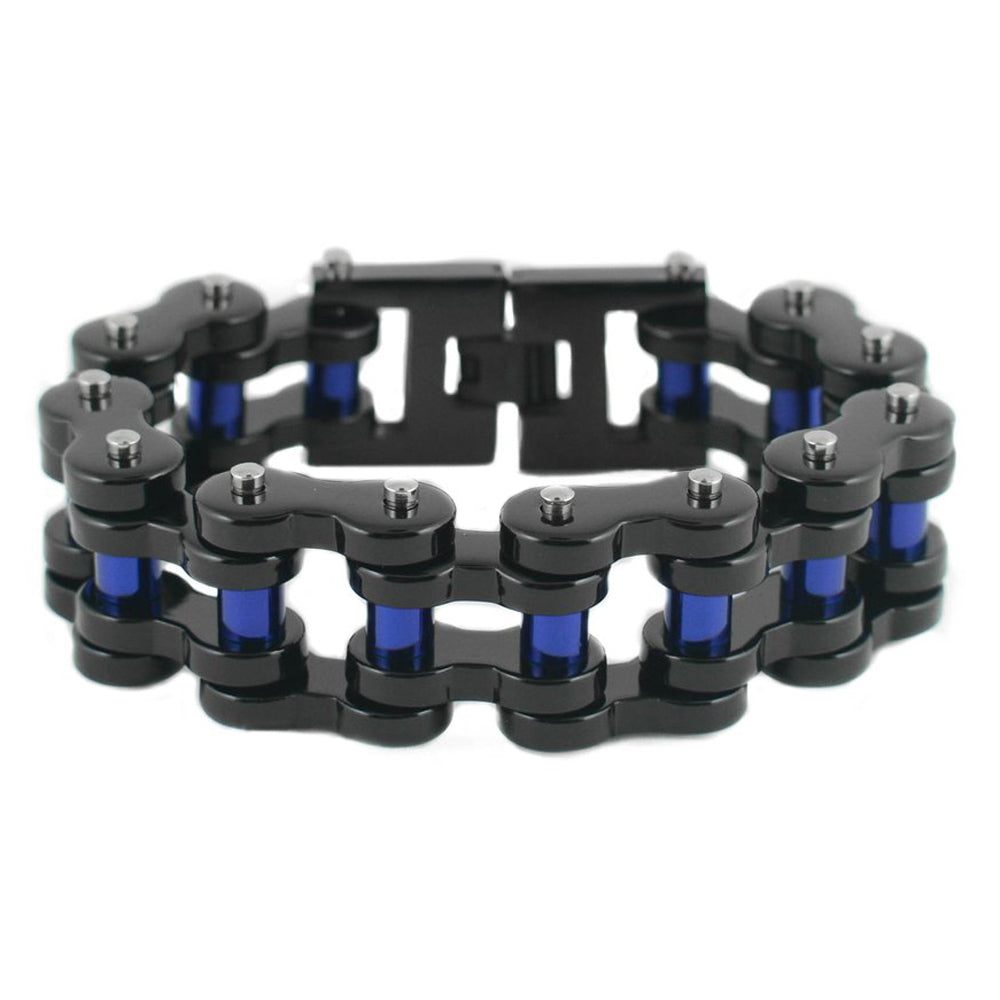 "SK1816 1"" Wide Black With Blue Rollers THICK LINK Men's Stainless Steel Motorcycle Chain Bracelet"