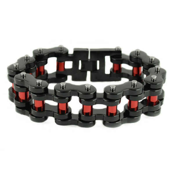 "SK1826 1"" Wide Black With Red Rollers THICK Stainless Steel Motorcycle Chain Bracelet"