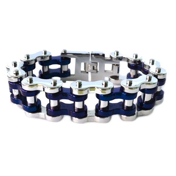 "SK1797 Silver Tone/ Blue 1"" Wide Unisex Stainless Steel Motorcycle Chain Bracelet"
