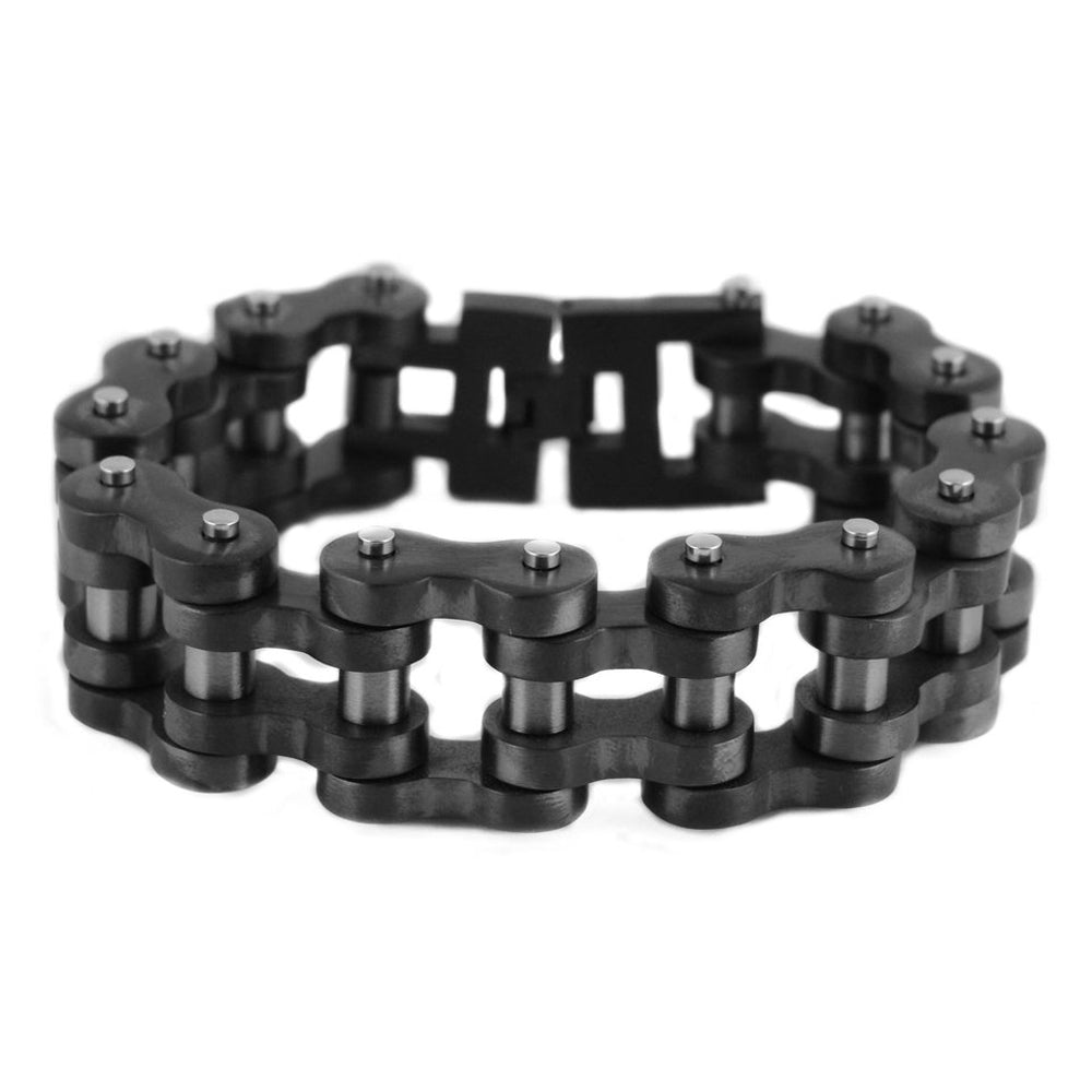 "SK1837 All New Gunmetal Finish 1"" Wide 8.5"", 9"", 9.5"" 10"" Length Motorcycle Chain Bracelet"