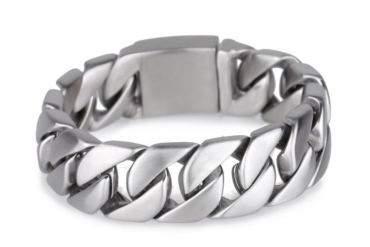 "SK1820 Bracelet Stainless Steel 1"" Wide BRUSHED Cuban Link"