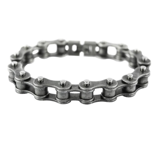 "SK1822 Antiqued Worn Look 1/2"" Wide Bike Chain Bracelet"