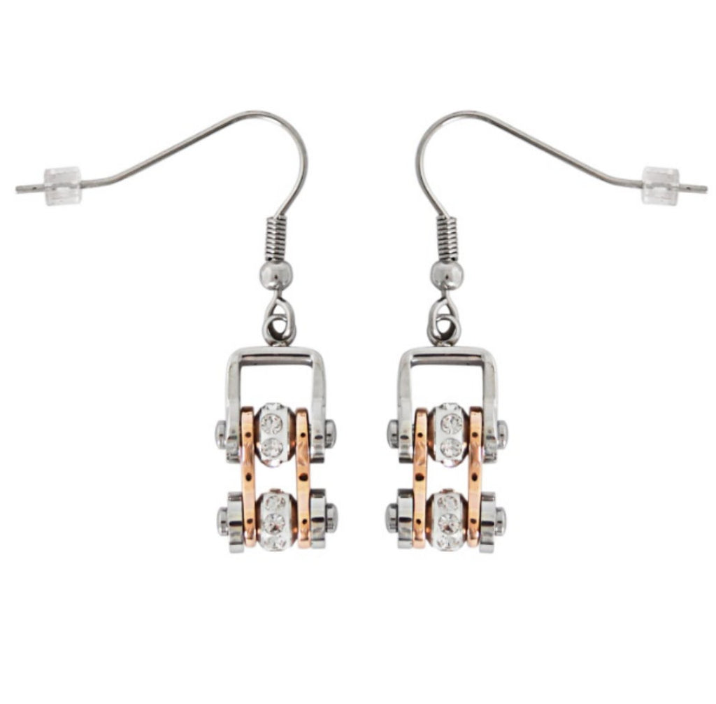 SK1844E MINI MINI SIZE EARRINGS Two Tone Silver Rose Gold With White Crystal Centers Stainless Steel Motorcycle Bike Chain