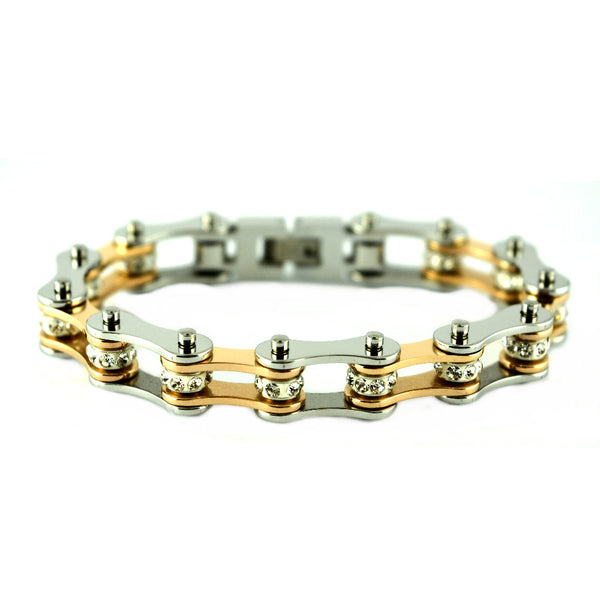 "SK1852 1/2"" Wide Silver Rose Gold Color With White Crystal Centers Stainless Steel Motorcycle Bike Chain Bracelet"