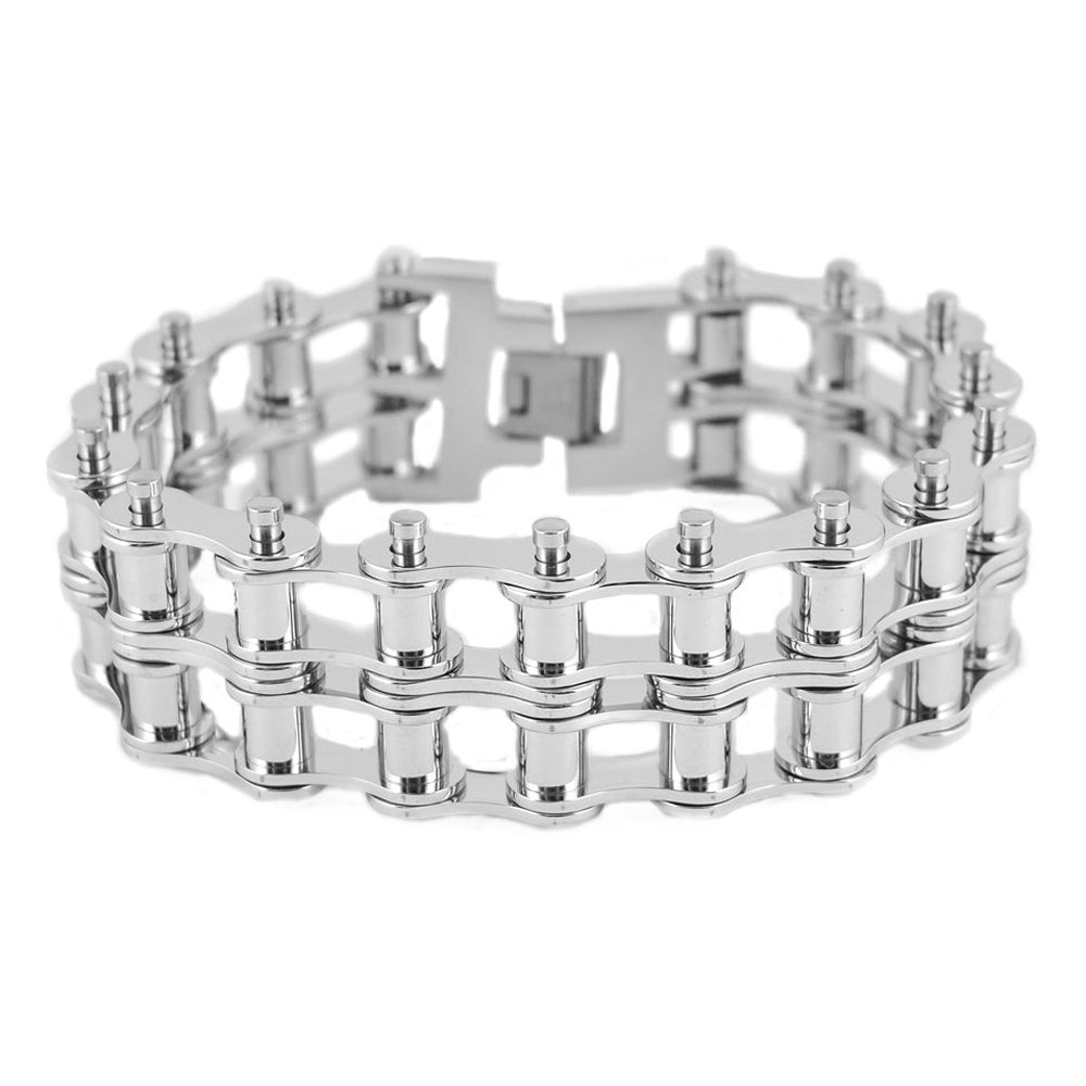 "SK1851 1"" Wide All Silver Tone New Drive Chain Design Double Roller Design Stainless Steel Motorcycle Chain Bracelet"