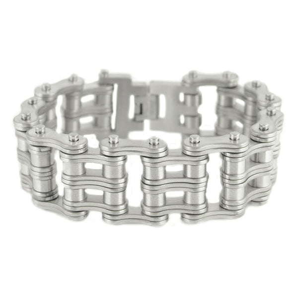 "SK1842 1"" Wide All New BRUSHED Finish Double Roller Design Stainless Steel Motorcycle Chain Bracelet"