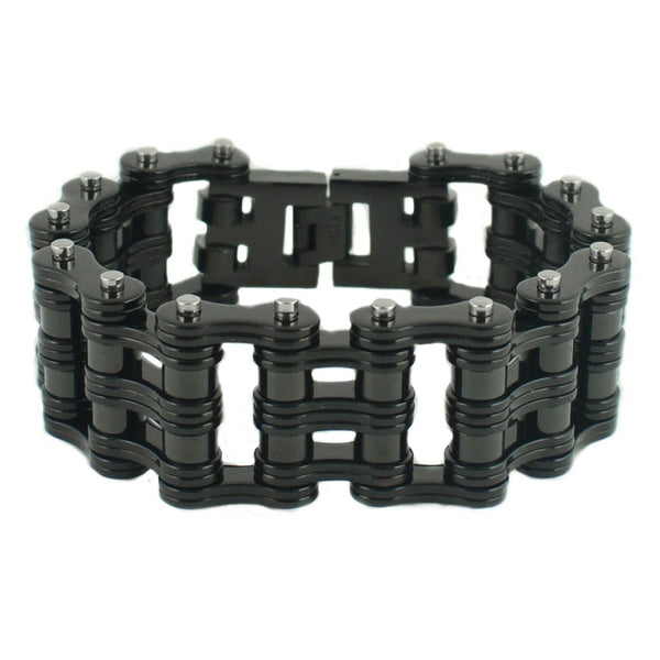 "SK1814 All Black 1"" Wide Unisex Stainless Steel Motorcycle Chain Bracelet"