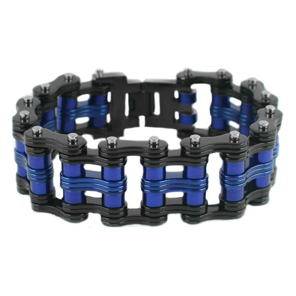 "SK1812 Two Tone Black Blue 1"" Wide Unisex Stainless Steel Motorcycle Chain Bracelet"