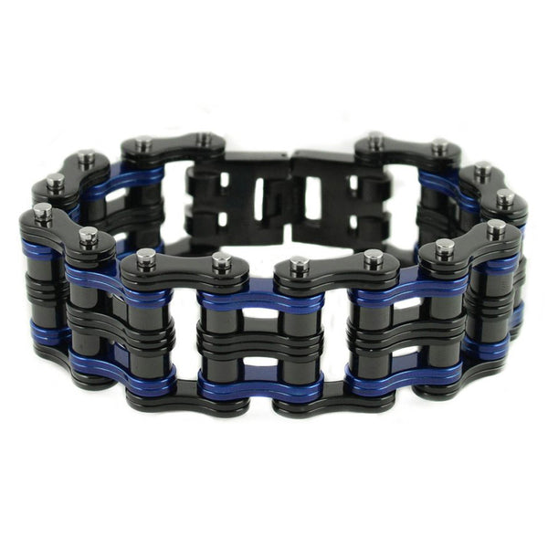 "SK1821 1"" Wide Two Tone Black Blue Unisex Stainless Steel Motorcycle Chain Bracelet"