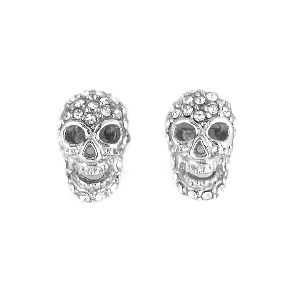 SK1526  Skull Bling Earrings Silver Tone Imitation Diamonds Stainless Steel Motorcycle Biker Jewelry