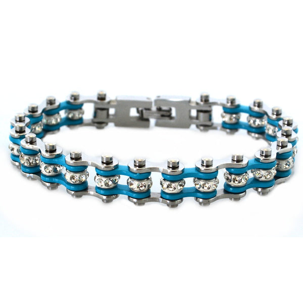 "SK2004 3/8"" Wide MINI MINI SIZE Two Tone Silver Turquoise With White Crystal Centers Stainless Steel Motorcycle Bike Chain Bracelet"