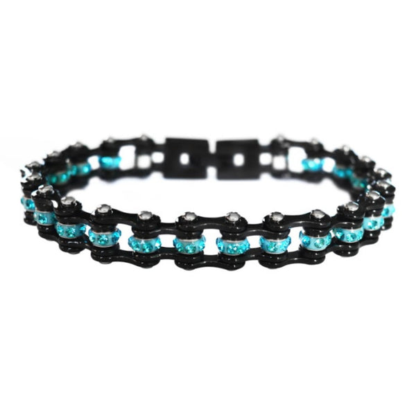 "SK2008 3/8"" Wide MINI MINI SIZE All Black With Aqua Crystal Centers Stainless Steel Motorcycle Bike Chain Bracelet"