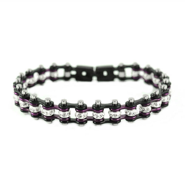 "SK2009 3/8"" Wide MINI MINI SIZE Two Tone Black Candy Purple With White Crystal Centers Stainless Steel Motorcycle Bike Chain Bracelet"