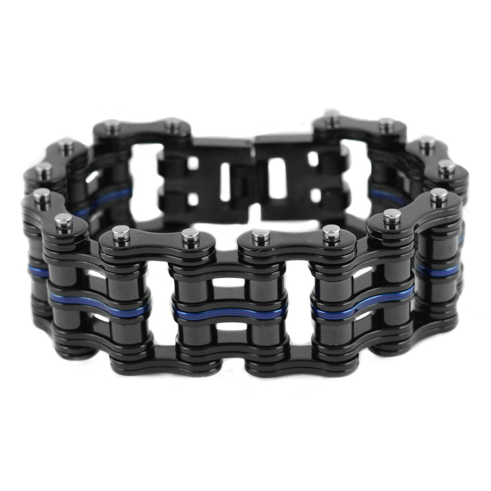 "SK1828 1"" Wide Black With One Candy Blue Link Unisex Stainless Steel Motorcycle Chain Bracelet"