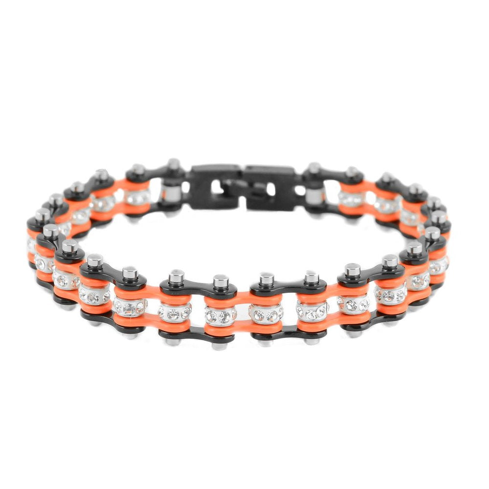 "SK2012 3/8"" Wide MINI MINI SIZE Two Tone Black Orange With White Crystal Centers Stainless Steel Motorcycle Bike Chain Bracelet"