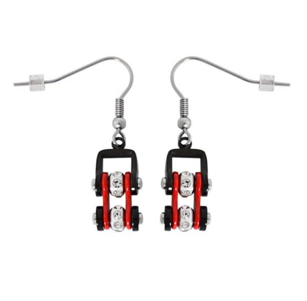 SK2019E Mini Mini Size Earrings Two Tone Black Red with White Crystal Centers Stainless Steel Motorcycle Bike Chain