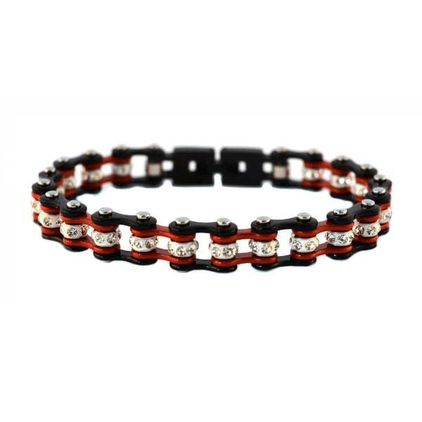 "SK2019 3/8"" Wide MINI MINI SIZE Two Tone Black Red With White Crystal Centers Stainless Steel Motorcycle Bike Chain Bracelet"