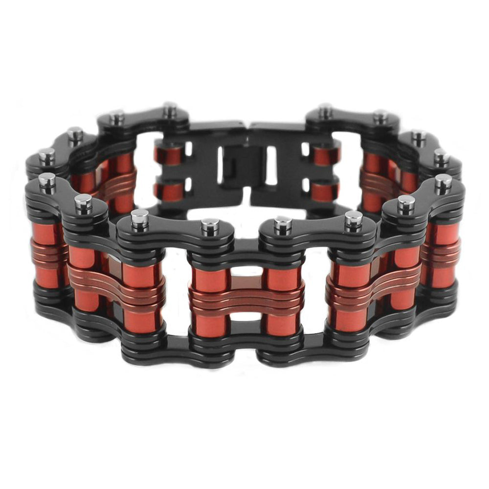 "SK1813 Two Tone Black Red Rollers 1"" Wide Unisex Stainless Steel Motorcycle Chain Bracelet"
