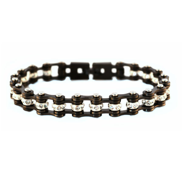 "SK2020 3/8"" Wide MINI MINI SIZE Gunmetal With White Crystal Centers Stainless Steel Motorcycle Bike Chain Bracelet"