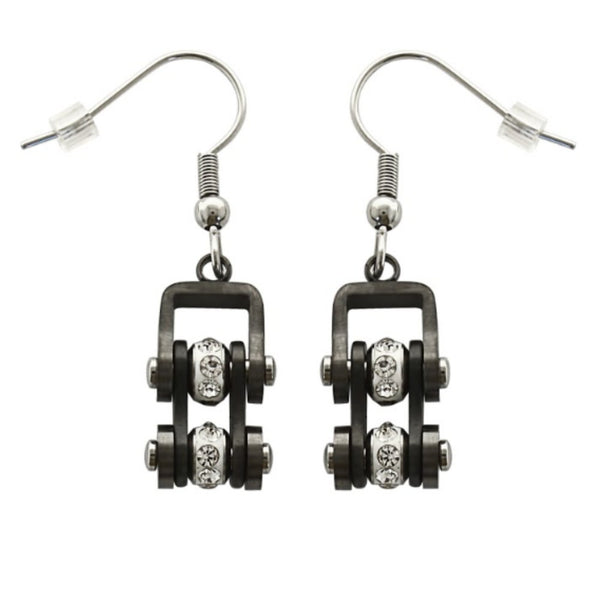 SK2020E  Gunmetal Silver Crystal Centers Bike Chain Earrings Stainless Steel Motorcycle Biker Jewelry
