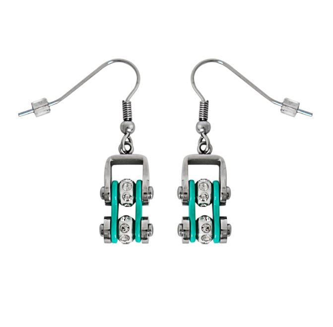 SK2021E  MINI MINI SIZE Two Tone Silver Aquamarine With White Crystal Centers Stainless Steel Motorcycle Bike Chain