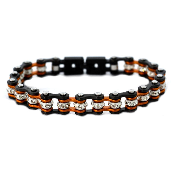 "SK2022 3/8"" Wide MINI MINI SIZE Two Tone Gunmetal Beryllium Orange With White Crystal Centers Stainless Steel Motorcycle Bike Chain Bracelet"