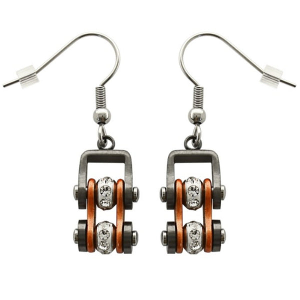 SK2022E  Gunmetal/Beryllium Orange Silver Crystal Centers Bike Chain Earrings Stainless Steel Motorcycle Biker Jewelry