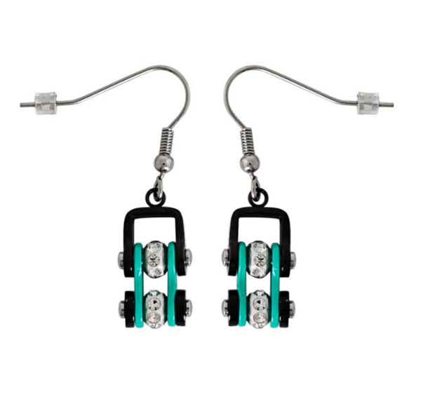 SK2023E MINI MINI SIZE EARRINGS Two Tone Black Aquamarine With White Crystal Centers Stainless Steel Motorcycle Bike Chain