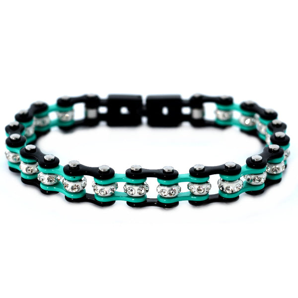 "SK2023 3/8"" Wide MINI MINI SIZE Two Tone Black Aquamarine With White Crystal Centers Stainless Steel Motorcycle Bike Chain Bracelet"