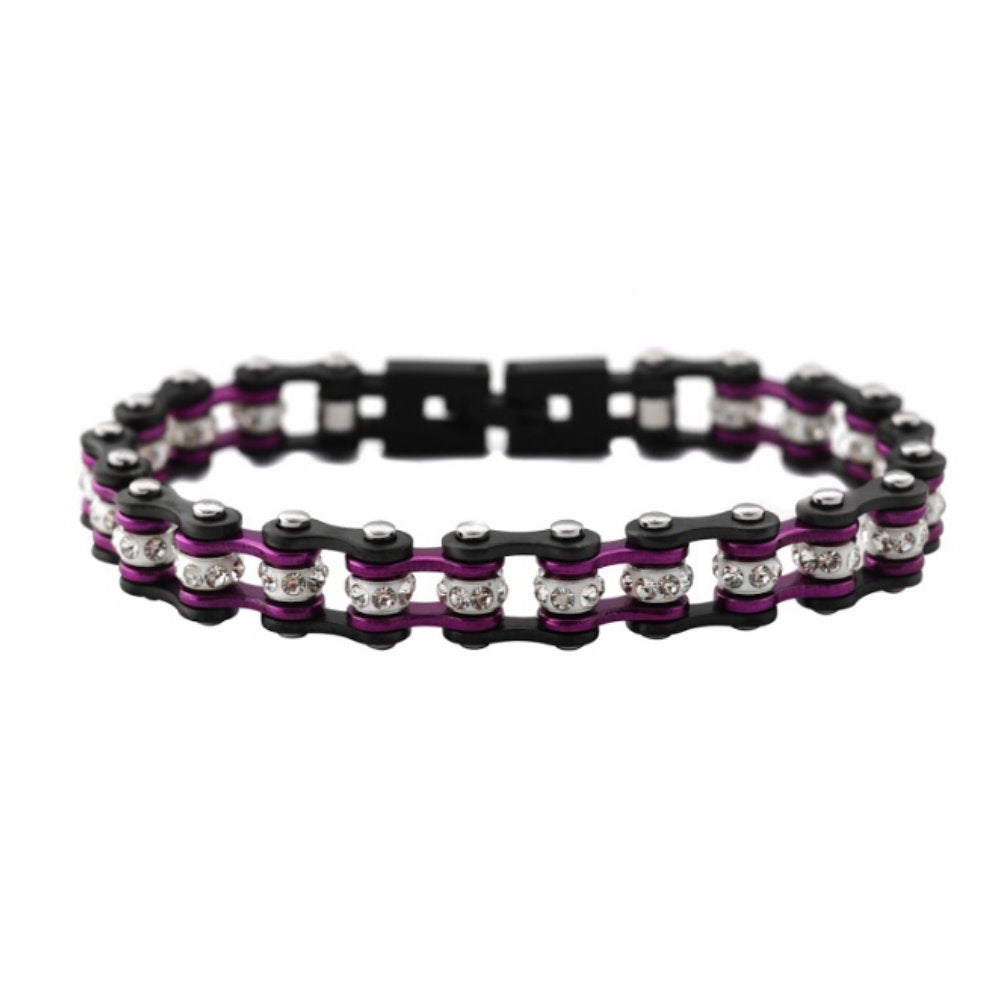 "NEW SK2025 3/8"" Wide MINI MINI SIZE Gunmetal/Candy Purple With White Crystal Centers Stainless Steel Motorcycle Bike Chain Bracelet"