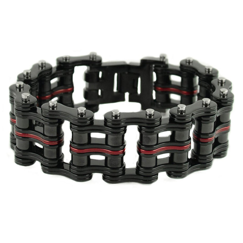 "SK1825 Black Red Link 1"" Wide Unisex Stainless Steel Motorcycle Chain Bracelet"