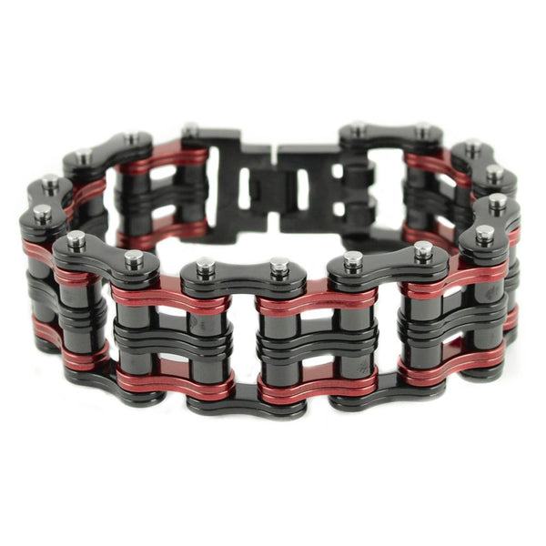 "SK1833 Two Tone 1"" Wide Black Red Unisex Stainless Steel Motorcycle Chain Bracelet"
