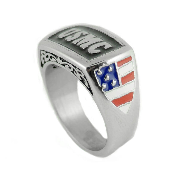 SK1834 Ladies Or Men's USMC Ring Enameled American Flag  Stainless Steel Military Jewelry