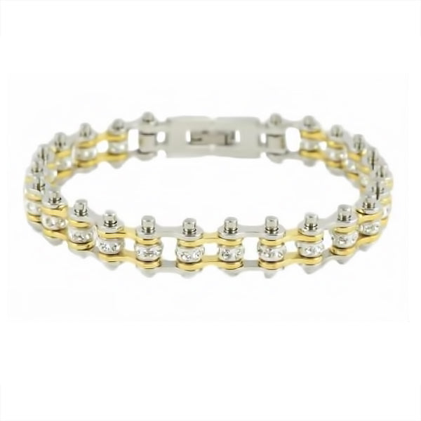 "SK2096 1/2"" Wide MINI MINI SIZE Two Tone Silver Gold With White Crystal Centers Stainless Steel Motorcycle Bike Chain Bracelet"