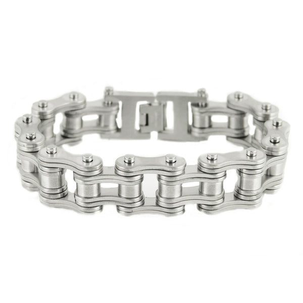 "SK1832 All New BRUSHED Double Link 3/4"" Wide Design Unisex Stainless Steel Motorcycle Chain Bracelet"