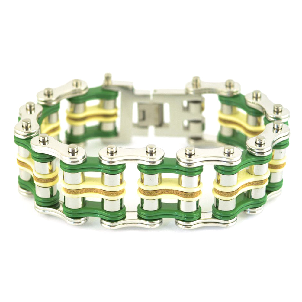 "SK1322 Tri Color 1"" Wide Silver Green Yellow Leather Men's Stainless Steel Motorcycle Chain Bracelet"