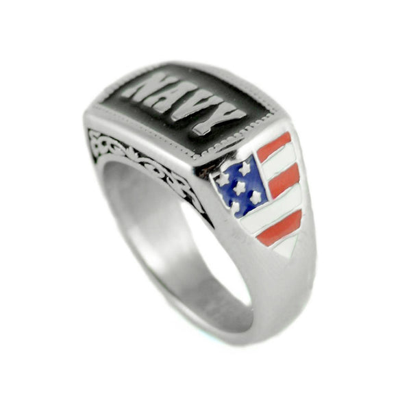 SK1835 Ladies Or Men's Navy Ring Enameled American Flag Stainless Steel Military Jewelry