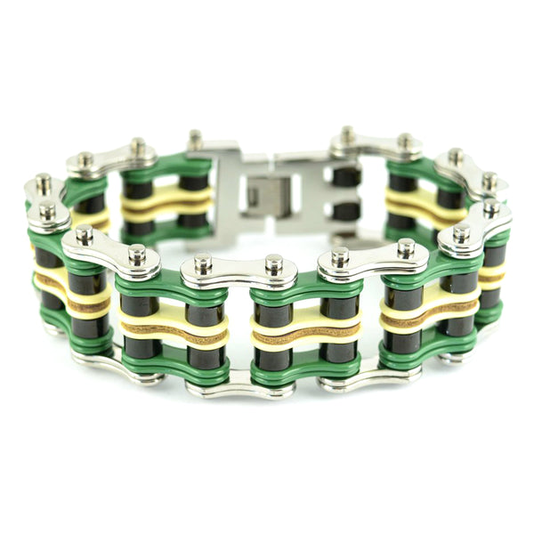 "SK1323 Quad Color 1"" Wide Silver Green Black Yellow Leather Men's Stainless Steel Motorcycle Chain Bracelet"