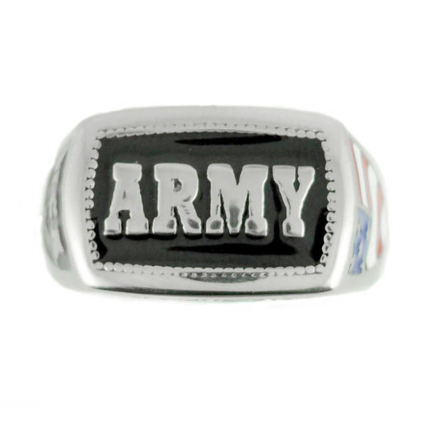 SK1836 Ladies Or Men's Army Ring Enameled American Flag Stainless Steel Military Jewelry