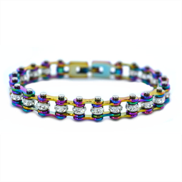 "SK2207R 3/8"" Wide MINI MINI SIZE All Rainbow With White Crystal Centers Stainless Steel Motorcycle Bike Chain Bracelet"