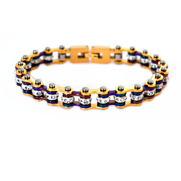 "SK2207G 3/8"" Wide MINI MINI SIZE Two Tone Gold Rainbow With White Crystal Centers Stainless Steel Motorcycle Bike Chain Bracelet"