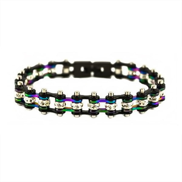 "SK2208 3/8"" Wide MNIN MINI SIZE Black Rainbow Ladies Crystal Bracelet"