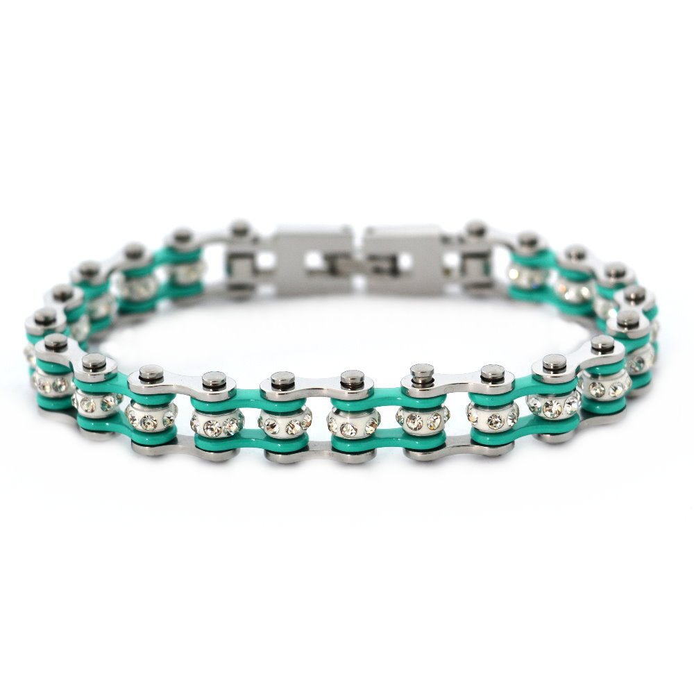 "SK2021 1/2"" Wide MINI MINI SIZE Two Tone Silver Aquamarine With White Crystal Centers Stainless Steel Motorcycle Bike Chain Bracelet"