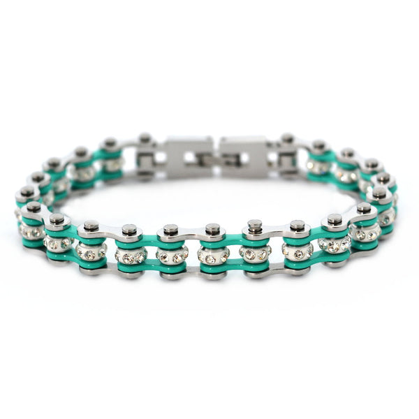 "SK2021 3/8"" Wide MINI MINI SIZE Two Tone Silver Aquamarine With White Crystal Centers Stainless Steel Motorcycle Bike Chain Bracelet"