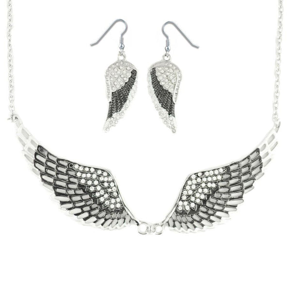 SK2236B Combo Set  Black Painted Winged Leverback Earring  +  Black Painted Winged Necklace White Imitation Crystals